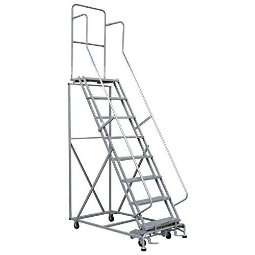 高所作業台 作業用踏台 高さ208.5cm 8段 耐荷重113kg 移動式踏台 スチール 作業用階段 作業台 足場台 移動式 階段 ステップ台 梯子 はしご 手すり キャスター 914