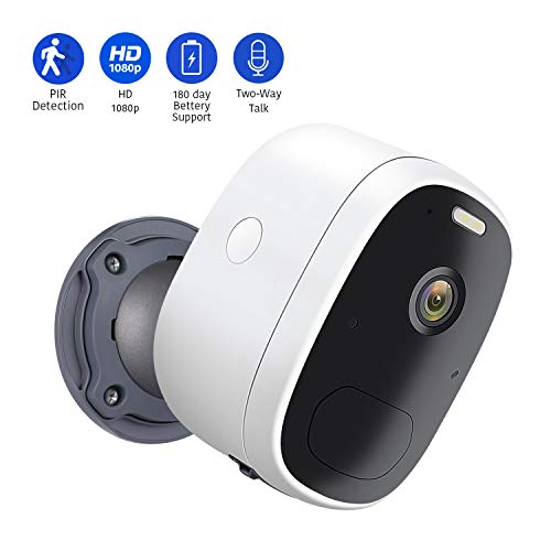 AIHOWS Battery Powered 1080p Wireless Security Camera with 2 Way Audio and 6500K Spotlight, Rechargeable WiFi Surveillance Camera for Indoor and Outdoor Compatible with Cloud Storage SD Slot