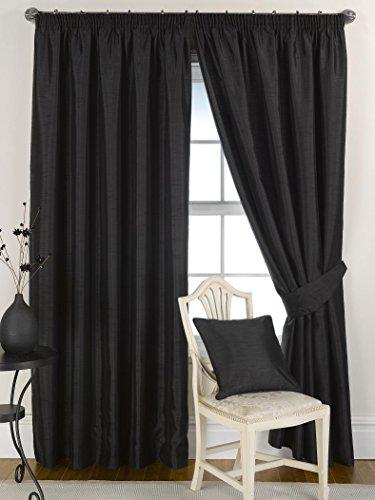 Ravello gordijnen, van kunstzijde, kant-en-klaar geconfectioneerd, gevoerd, plooiband, zwart lengte (inches): 90 | breedte (inches): 45 zwart