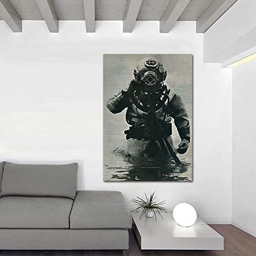 Cuadros de Arte de Pared para Sala de Estar Póster e Impresiones Lienzo Moderno Pintura de Arte Buceo en Aguas Profundas 60x90cm (Sin Marco)