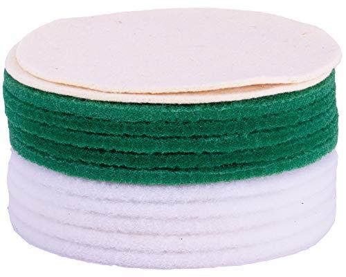 HPS® 12-Stück-Pad Set -5xGrüne, 5xWeiße Pads und 2xSoft-Sheep superweiche Schafwolle Polierpads, Ø30cm - Pflegen - Nachölen - Einmassieren und Polieren zb geöltes Parkett - Linoleum - Marmor - Vinyl etc -Pads passend zu Overmat Poliermaschine Floorboy XL 300