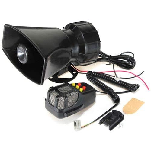 HaiMa 100W 12V 5-Tone Car Truck Automatic Alarm Fire Speaker Microphone Mic System Kit - Negro