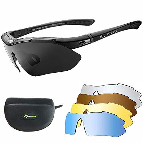 Lucylanker Occhiali da Ciclismo Polarizzati Uomo Donna,Ciclismo Occhiali da sole,con 5 Lenti Lntercambiabili Occhiali Bici,Anti-UV 400 Protezione Ultra-Leggeri Unisex per Ciclismo, MTB e Running,Pesca