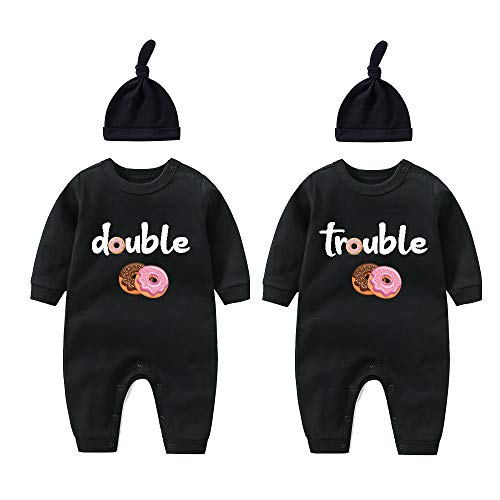 culbutomind Body para beb Gemelos con doble molestia, bonito disfraz con sombrero, pijama para beb, Donut negro., 6-9 meses