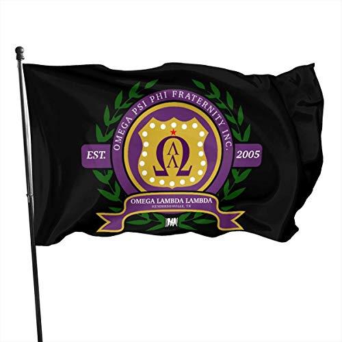 BHGYT Omega Psi Phi Flagge 3x5 Ft - Lebendige Farbe - Polyesterflaggen mit Messingösen für Innen- und Außendekoration