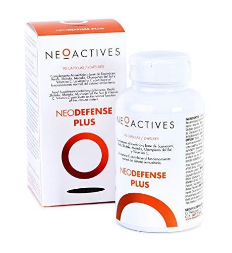 NeoDefense Plus | Suplemento con Equinácea (1.000 mg), Reishi, Shiitake, Maitake, Champiñón del Sol y Vitamina C | Protege contra gripes, resfriados refuerza tu sistema inmunitario. (90)