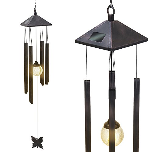 Sorbus Wind Chime – Tubular Decorative Outdoor Garden Accent Soothing Musical Bell Sounds – Great Front Door, Home, Deck, Patio Garden, Metal (Wind Chime - Solar Color Changing)