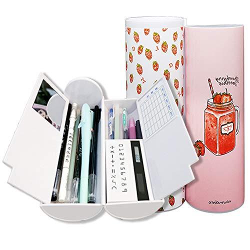 lulalula Trousse multifonction créative avec calculatrice, miroir et tableau blanc effaçable, grande capacité, mignonne, pour garçons et filles
