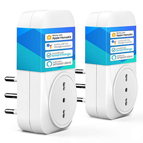 meross Presa Intelligente Italiana Smart Plug, Spina WiFi, Compatibile con HomeKit Siri, Alexa, Google Assistant e SmartThings, Nessun Hub Richiesto, 16A, 2,4GHz, 2 Pezzi