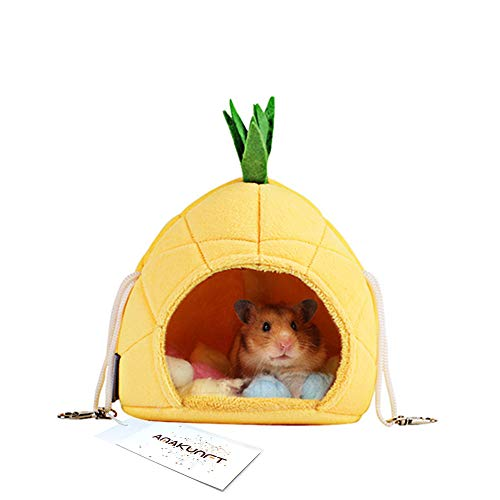 Hamster Bed, Sugar Glider Cage Accessories Hammock, Hamster House Toys for Small Animal Sugar Glider Squirrel Hamster Rat Playing Sleeping (Pineapple)