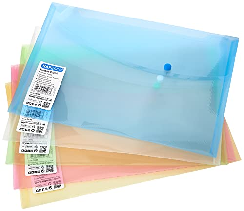 Rapesco 0696 Carpeta Sobre Portafolios A4+ horizontal con broche, Colores Surtidos, 5 unidades ⭐