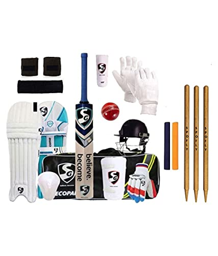 Sg Full Cricket Kit With Bag Combo With Spofly Brand Stumps (Full Size)¦ Nylon, Multicolour.