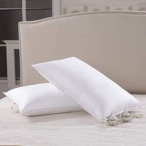 AMAFS Almohadas de Cama de Plumas y plumón de Ganso para Dormir (Paquete de 2), colección de Hotel, Relleno Natural, Funda de algodón Natural, 20 cm Happy House