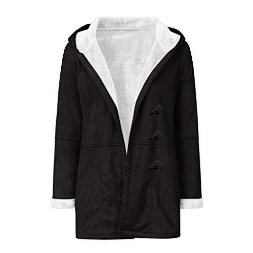 Damen Winterjacke Warme Winter Jacke Parka Mantel mit Kapuze Herstellergröße S-5XL mit Taschen Pullover Kapuzenpullover Damen Plus Size Solid Velvet Coat Long Sleeve Horn Buckle Pocket Overcoat