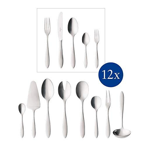 Villeroy & Boch - Arthur Posate da tavola per 12 persone, 68 pz, servizio di posate per grandi feste, acciaio inox 18/10, argento, lavabili in lavastoviglie, 44 x 29 x 9 cm