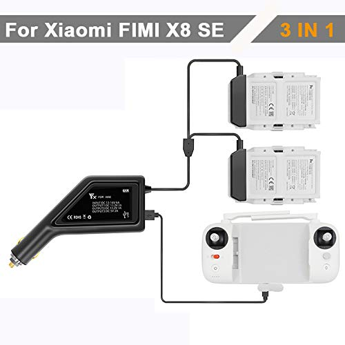 Flycoo2 - Caricatore da auto 3 in 1, per Xiaomi FIMI X8, per 2 batterie, 1 telecomando 12 – 16 V 6 A DC 13,2 V 3 A USB, caricatore accessori