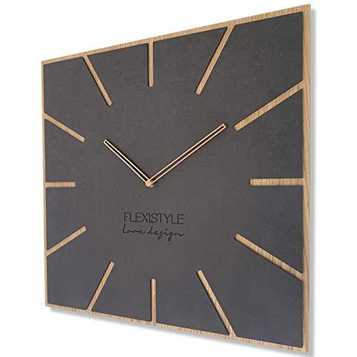 FLEXISTYLE Moderno reloj de pared grande Exact Eco 50 cm, silencioso, salón,...