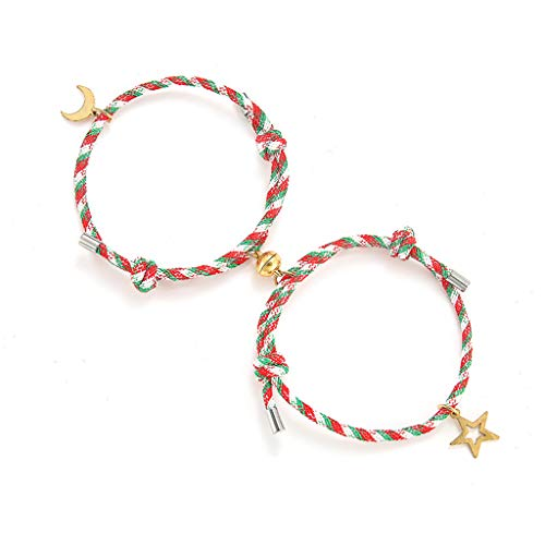 Y-POWER 2Pcs Star and Moon Lover Couple Magnetic Distance Bracelet Kit Lovers Matching Friendship Bracelet Lover Fashion Jewelry