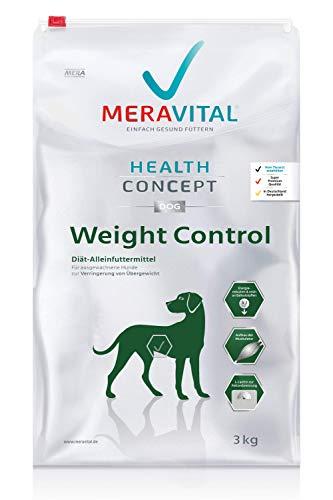 MERAVITAL Weight Control Hundefutter trocken 3 kg für Hunde fördert Fettverbrennung für gesundes und schmackhaftes Abnehmen bei Übergewicht