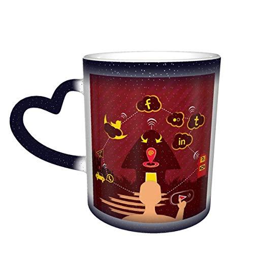 Taza que cambia de color de la simplicidad moderna en el cielo Taza de cerámica Taza de café Regalo de cumpleaños de Navidad