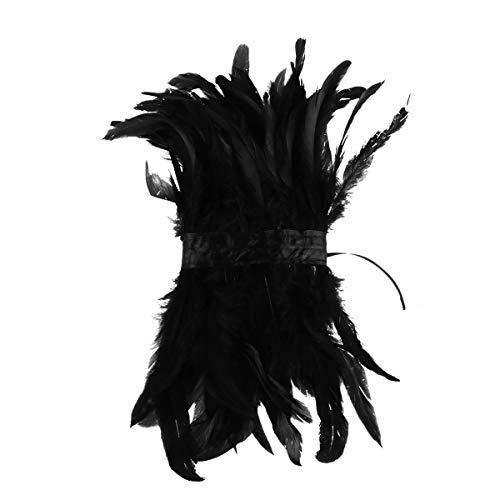 Yeahdor Gothic Feder Kragen Choker Schal Natürliches Feder Halsband Rabenkostüm mit Lace Rüschen Handwerk Punk Kostüm für Karneval Fasching Schwarz One Size