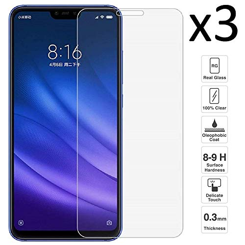 iGlobalmarket [3 Unidades Protector de Pantalla Xiaomi Mi8 Lite, Cristal Templado Xiaomi Mi8 Lite, Alta Definicion, 9H Dureza, Resistente a Arañazos