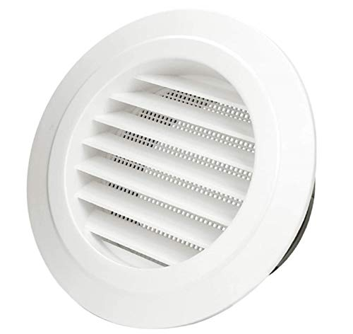 5'' ABS Soffit Vents, Round Wall Cover Ceiling ABS Louver Grille Cover Exhaust Extractor Air Vents with Fly Screen Mesh for Kitchen and Bathroom
