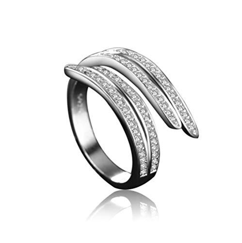 Imitatie zilveren ring micro-set zirkoon ring gepersonaliseerde mode retro enkele ring handgemaakte decoratie puur wit verkoperd platina sieraden