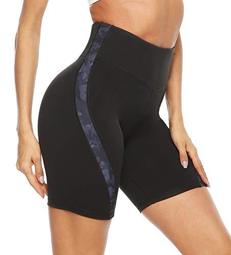 JOYSPELS Kurze Sporthose Radlerhose Damen, Kurze Hose Leggings Laufhose Damen Kurz Camouflage S