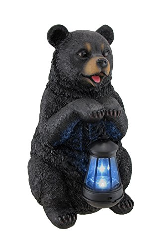 Beacon of Happiness Black Bear Statue and Solar LED Lantern