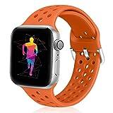 Runostrich - Correa de Repuesto para Apple Watch (44 mm, 42 mm, Silicona Suave, Transpirable, Compatible con iWatch Series 4, 3, 2, 1, Sport, Edition para Mujeres y Hombres (42 mm/44 mm, Naranja)