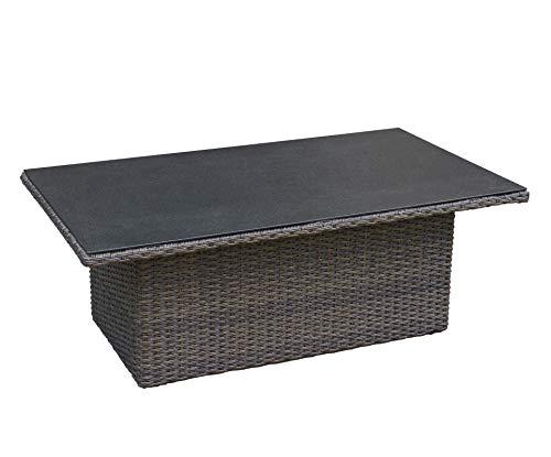 Wholesaler GmbH Höhenverstellbarer Gartentisch Barcelona 120 x 77 x 44/66 cm aus handgeflochtenem Polyrattan in grau mit Glasplatte in Spraystone-Optik