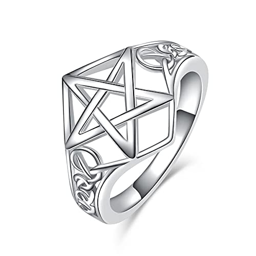 VENACOLY Pentagram Ring Silver Pentacle Rings for Women 925 Sterling Silver Celtic Rings Jewelry Gifts for Women (7)