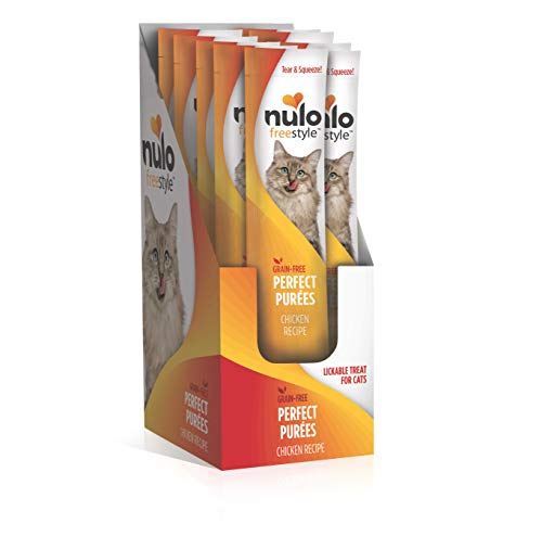 Nulo Freestyle Perfect Purees - Chicken Recipe - Grain Free Cat Food, Case of 48 - Premium Cat Treats, 0.50 oz. Pouches - Meal Topper for Felines - High Moisture Content and No Preservatives, Yellow