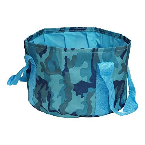 折り畳み バケツ 大容量 携帯用 アウトドア キャンプ 旅行 足湯 収納袋付き 防災 軽量 持ち運び レジャー バーベキュー コンパクト 防災 (迷彩ブルー) PR-BUCKET-MBL