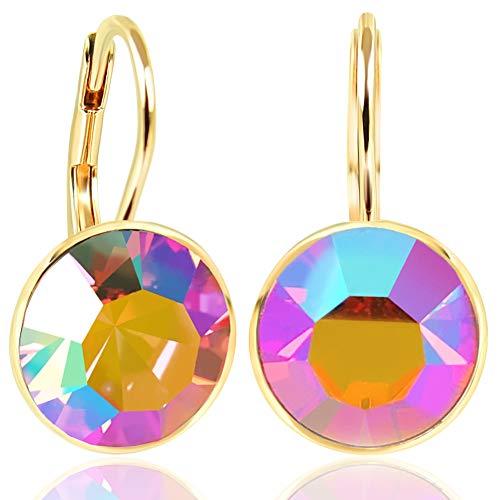 NOBEL SCHMUCK Ohrringe Gold Rosa mit Kristallen von Swarovski® 925 Sterling - schlicht modern