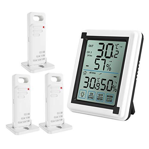 ORIA デジタル温湿度計 外気温度計 温度湿度計 ワイヤレス 室外 室内 三つセンサー 高精度 LCD大画面 バックライト機能 付き置き掛け両用 最高最低温湿度/快適レベル/温度と湿度傾向図表示 温室 温度管理 健康管理 見やすい おしゃれ ホワイト