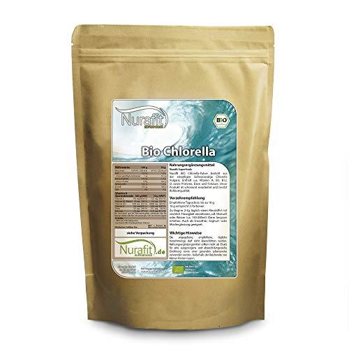 Nurafit BIO Chlorella Pulver I Algen aus kontrolliert biologischem Anbau I BIO-zertifiziert I ideal für Green Smoothies I Vegan Alge Superfood I 500g / 0.5kg