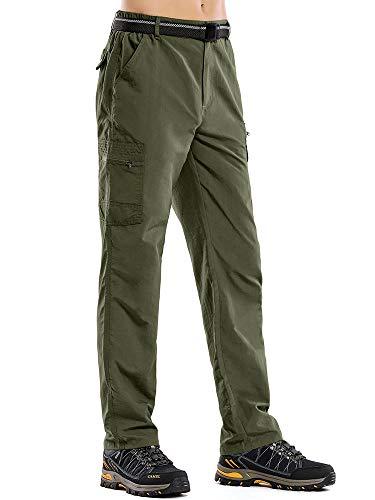 Jessie Kidden Herren Wanderhose Cargo Kletterhose UV-Schutz Durable Camping Pants mit Reißverschlusstaschen 40 grün
