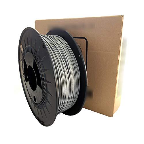Filamento Stampante 3D - Filamento PLA 400 Gesso Color Alluminio - 1,75mm - Peso 1000 gr (1 Kg) - Stampa 3D