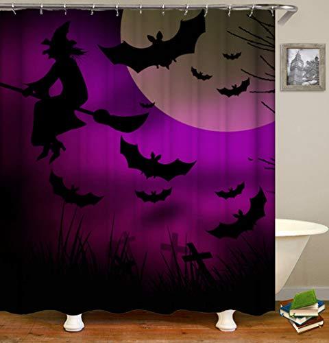 DFGHTH Waschbare Duschvorhänge Hexe Polyester Shower Curtains Antibakteriell Waschbar Stoffe Für Duschkabinen Mit Vorhängehaken 240 X 180 cm