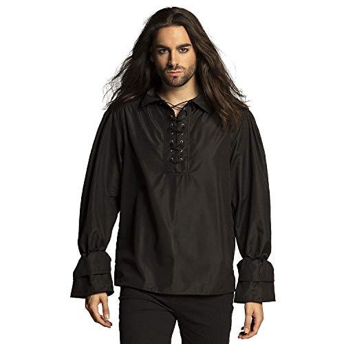 Boland - Hemd Pirat, verschiedene Größen für Herren, Schwarz, Piratenhemd, Bluse, Seeräuber, Freibeuter, Dieb, Mittelalter, Kostüm, Karneval, Mottoparty