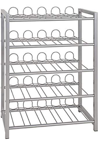 Haku Möbel Flaschenständer - Stahlrohr alufarben lackiert - für 45 Flaschen H 76 cm