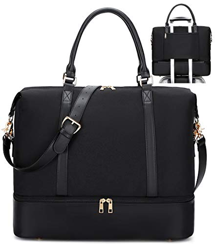 Travel Weekender Bag,Womens Overnight Travel Tote with Trolley Sleeve Pu Leather Shoulder Strap for Men Traveling Carry on Luggage Black with shoe compartment