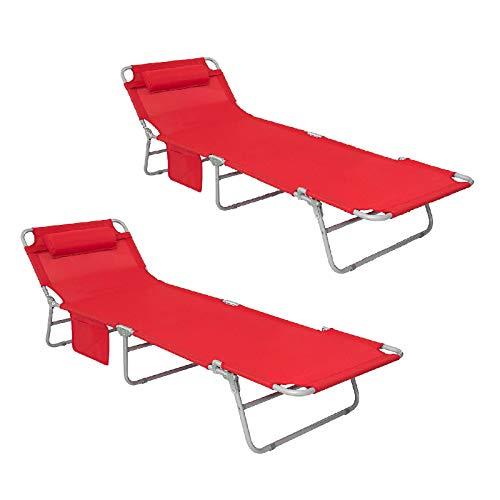 SoBuy® OGS35-Rx2 Lot de 2 chaises Pliantes inclinables en textilène avec Dossier réglable, Chaises de Camping pour extérieur de Jardin de Plage-Rouge