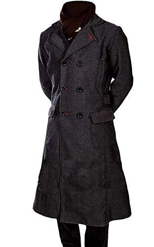 Stylish Legacy Sherlock Benedict Wool Long Trench Coat Jacket (XXX-Large) Black