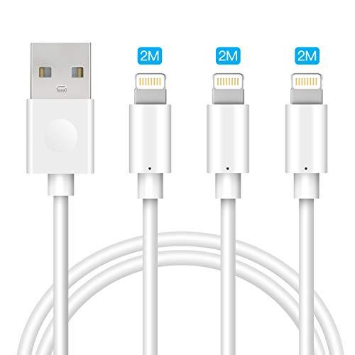 Avoalre Lightning kabel 2M iPhone oplaadkabel [Apple MFi Certified] Apple oplaadkabel voor de nieuwe AirPods, iPhone 11/11 Pro/XS Max/XS/XR/X / 8/7 / 6s / 6 Plus, iPad [3 stuks Wit]