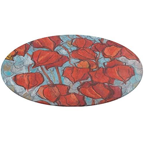 Alfombra redonda de baño de 24 pulgadas, linternas chinas, Physalis pintura floral de otoño antideslizante alfombra de baño ultra suave alfombra de piso interior absorbente almohadilla para perro