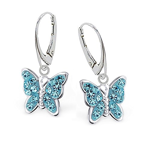 GH * Kids Azul Cristal Mariposa Pendientes Pendientes 925plata auténtica Chica Mujer...