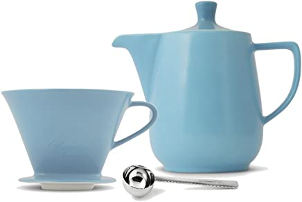 Preisvergleich für Friesland Melitta Kaffeefilter 102 1 Loch Porzellan azurblau + Kaffeekanne 0,6L + Kaffeemaßlöffel